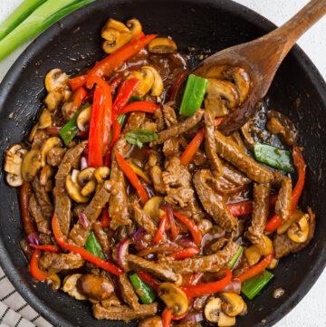 gluten free Mongolian beef in a pan
