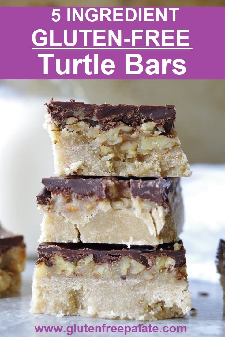 Easy 5 ingredient gluten-free turtle bars! These melt in your mouth Gluten-Free Turtle Bars have the perfect buttery crunch. The cookie layer, caramel, pecans, and dark chocolate will have your mouth singing.