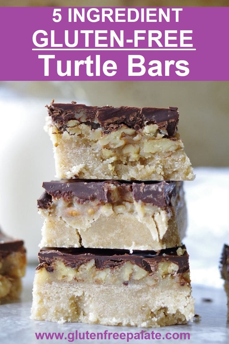 Three Gluten-Free Turtle Bars stacked.