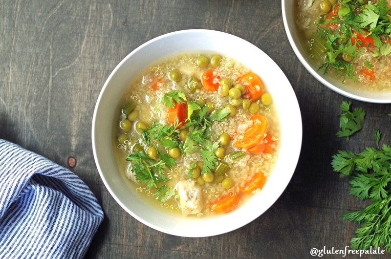 Quinoa Soup is not only gluten-free, it is comforting any time of the year. It's one of those savory, healthy soups you want to curl up with when it's cold outside or you are not feeling well.
