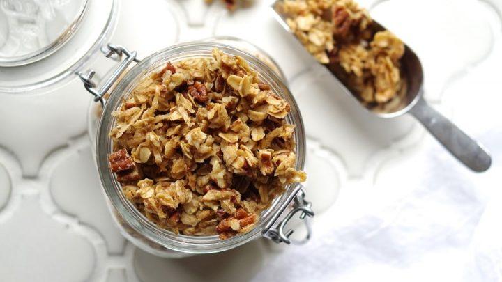 jar of crunchy dairy free Gluten-Free Granola with a white napkin