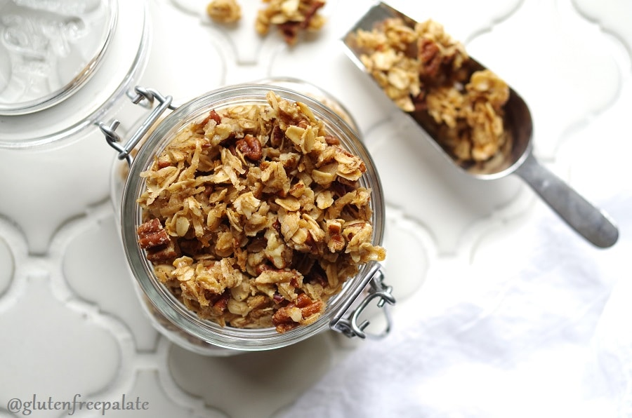 Perfectly crunchy Gluten-Free Granola that's also dairy-free. Finding a good Gluten-Free Granola in the stores can be hard and expensive. You can make home-baked granola with a few simple ingredients, saving on time and money.