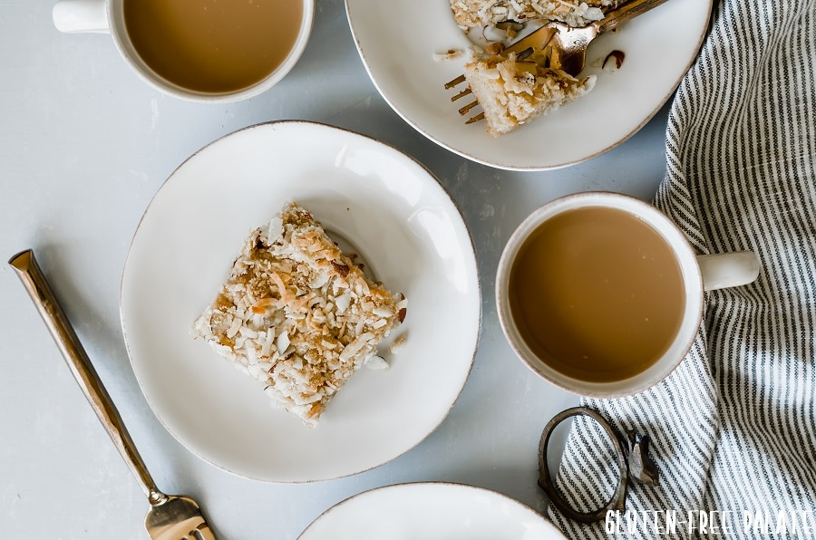 Gluten-Free Toasted Almond Coconut Crumb Cake is a perfect breakfast to serve your family or out of town guests.