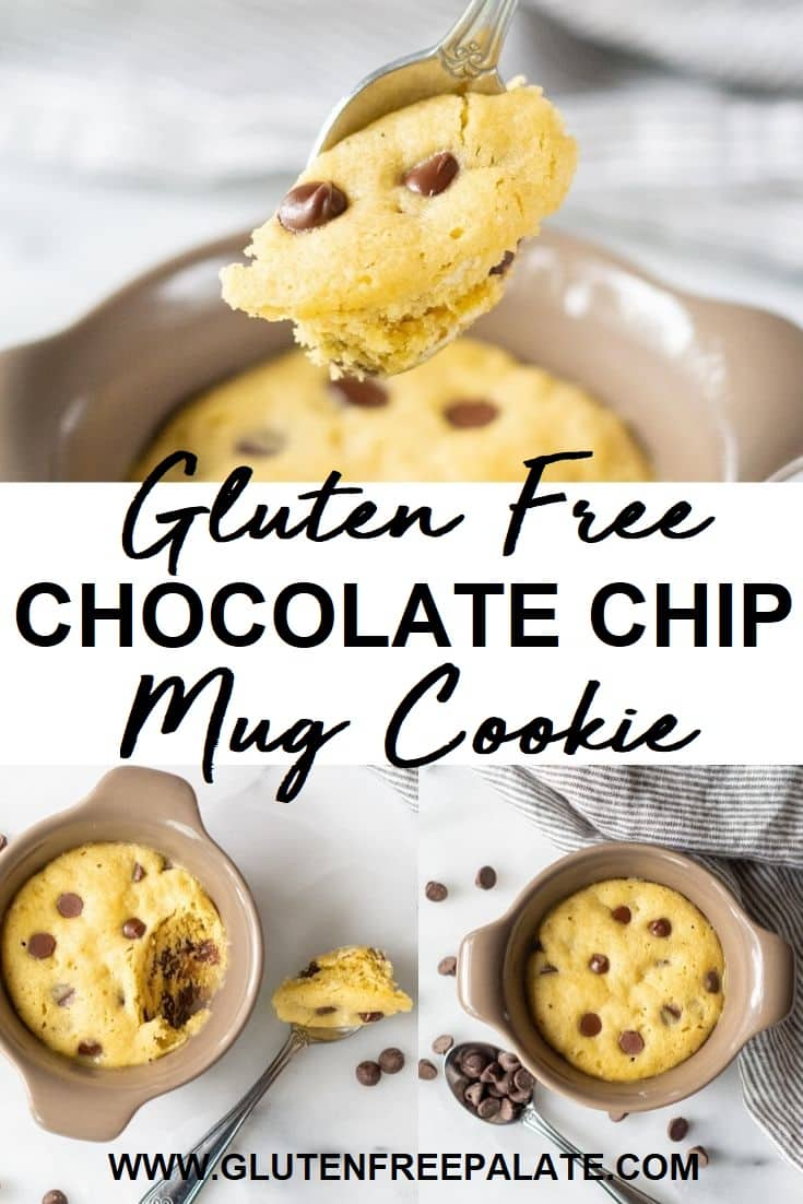 Gluten Free Chocolate Chip Mug Cookie pinterest pin collage
