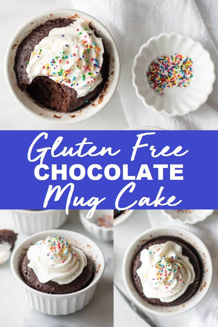 a pinterest pin collage with two photos of mug cakes with the words Gluten Free Chocolate Mug Cake in text in the center