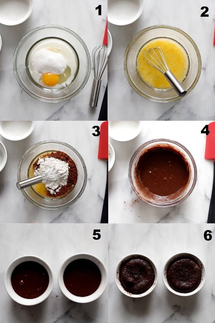 a collage of six photos showing you how to make a gluten free chocolate mug cake