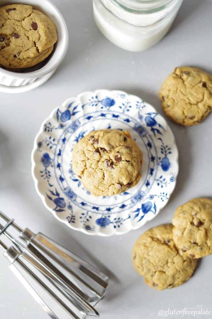 Soft, chewy, flour-less Gluten-Free Chocolate Chip Peanut Butter Cookies make the perfect pick-me-up cookie, or snack. They are loaded with healthy fats and protein and are quite scrumptious.