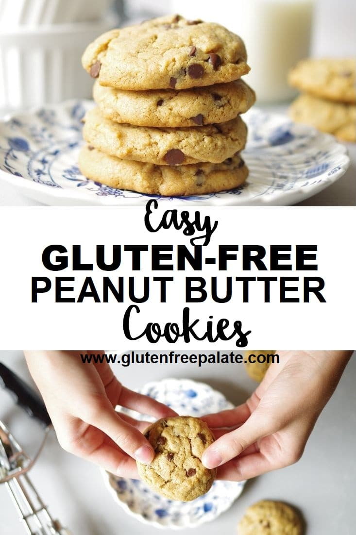 Image collage of peanut butter cookies on a plate with words under that say easy gluten free peanut butter cookies and then another image of hands breaking a cookie