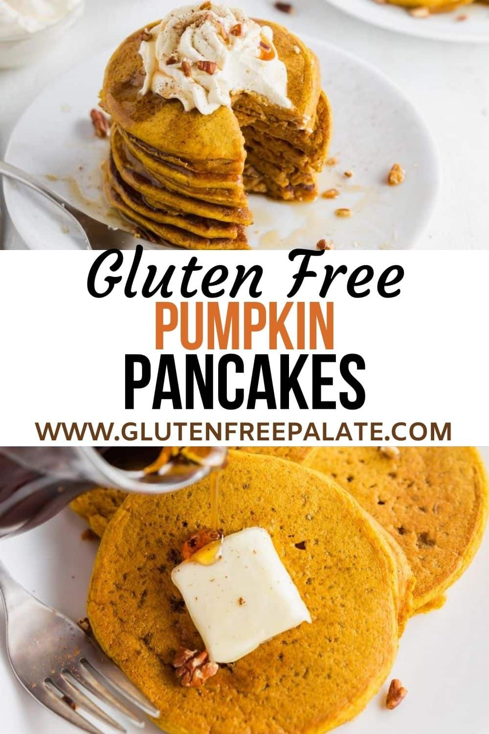 a pinterest pin collage for gluten free pumpkin pancakes