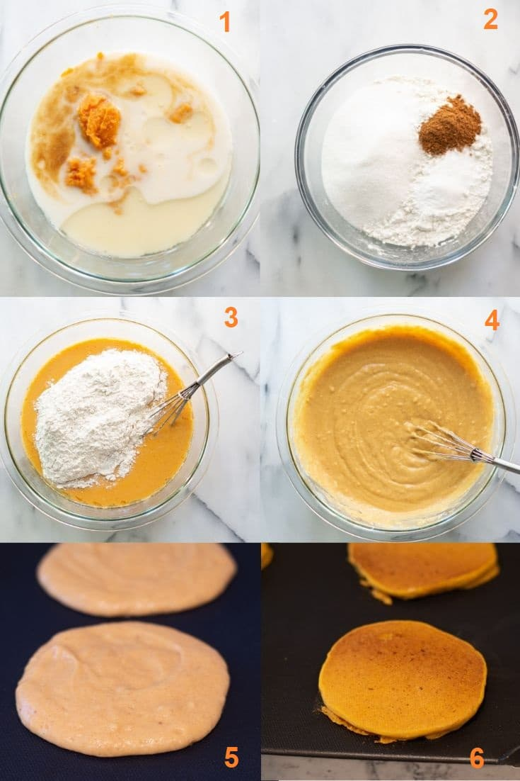 a collage of six photos showing the steps on how to make gluten free pumpkin pancakes