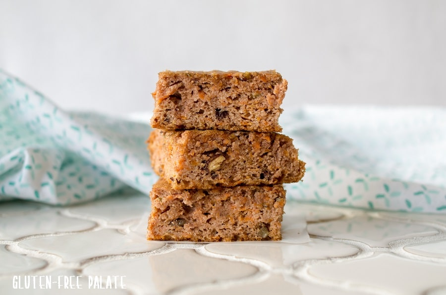 Paleo Carrot Cake Bars stacked.