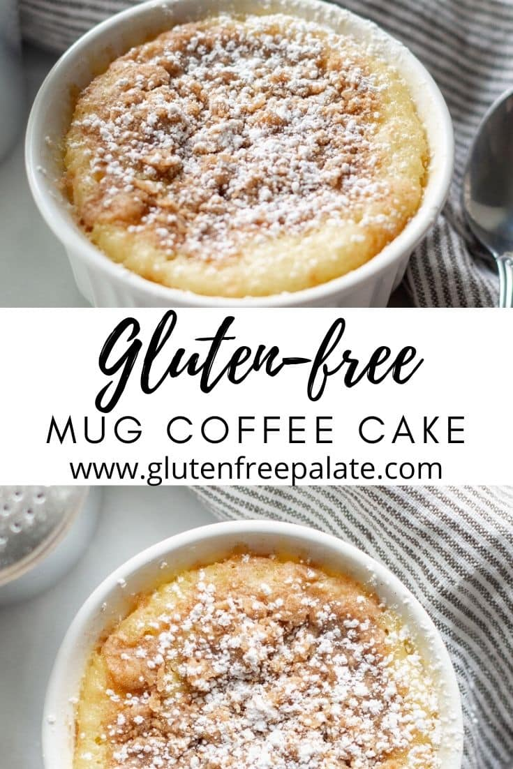 two images of a mug coffee cake in a white ramekin with the text gluten free mug coffee cake