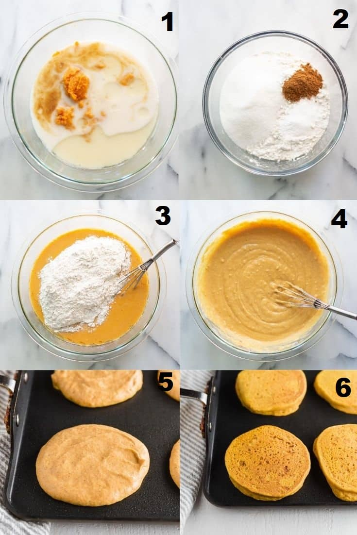 a collage of six photos showing the steps how to make gluten free pumpkin pancakes
