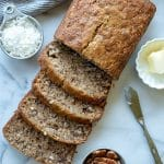 Tender Gluten-Free Banana Bread loaded with ripe bananas, coconut, and pecans. This delicious gluten-free coconut pecan banana bread brings traditional banana bread to a whole new level.