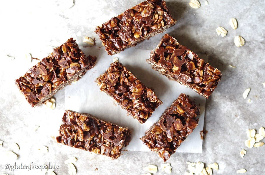 "These no bake Gluten-Free Chocolate Coconut Oat Squares remind me of a candy bar I loved growing up – ""Whatchamacallit bars"". They are easy to make, chewy, and delightful."