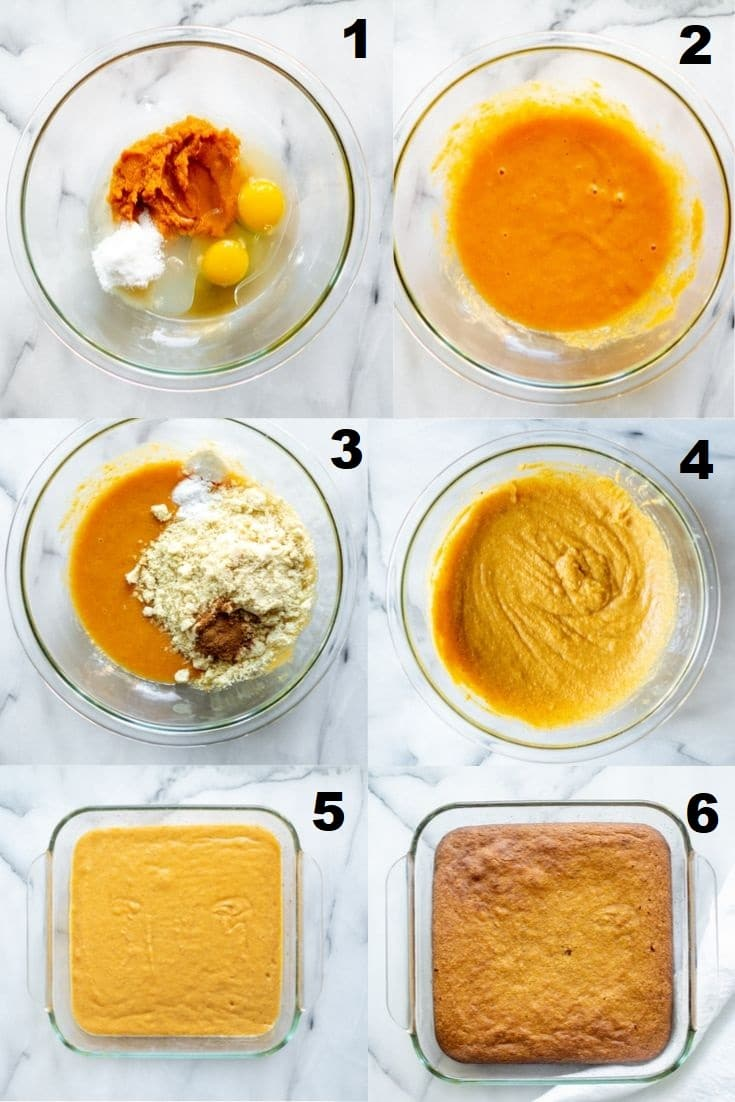 a collage of six numbered photos showing the steps how to make paleo pumpkin bars, the numbered photos match the numbered steps below