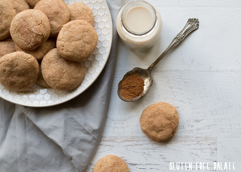 a paleo snickerdoodle cookie next to a plate of cookies and a spoon of cinnamon, with a jar of milk