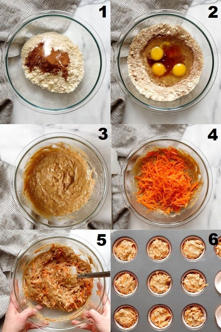 a collage of six photos showing how to make paleo carrot muffins