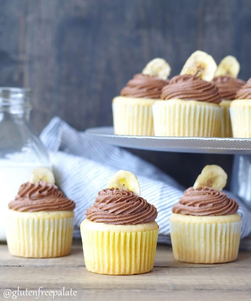 Gluten-Free Banana Cupcakes with a creamy, smooth, Nutella frosting put regular Banana Cupcakes to shame. Move over Fat Elvis, there's a new gluten-free cupcake in town.