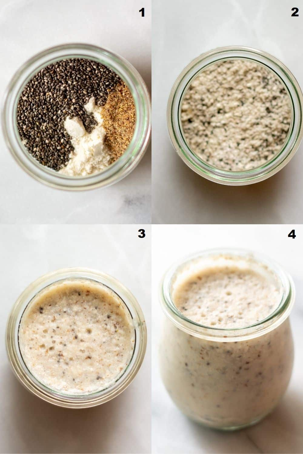 collage of four photos showing the steps to make paleo porridge