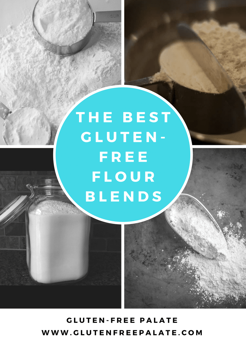 a collage of four photos of gluten free flour with the text the best gluten-free flour blends in text in the center