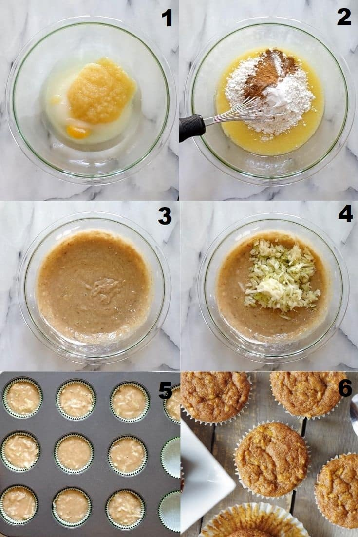 a collage of six photos showing the steps to make gluten free apple muffins