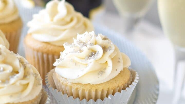 Gluten Free Champagne Cupcakes with champagne glasses