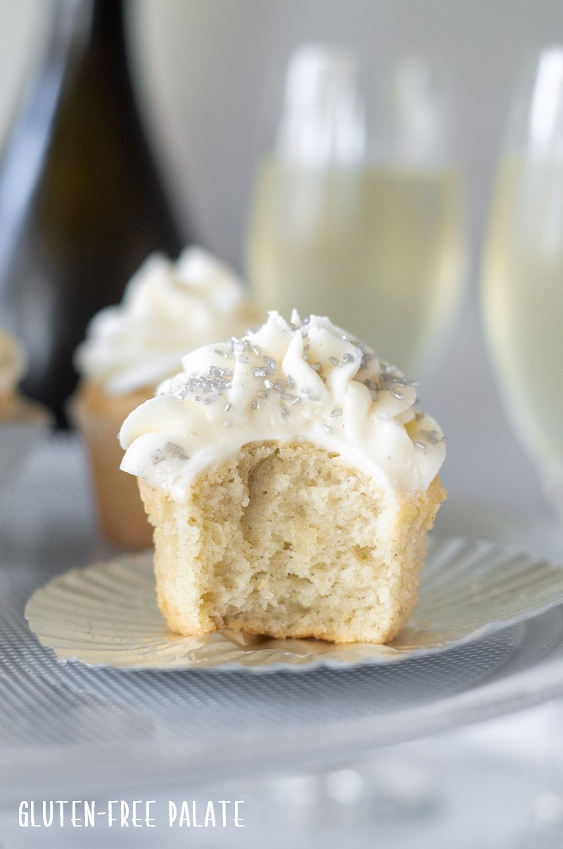 Gluten Free Champagne Cupcakes with silver sprinkles