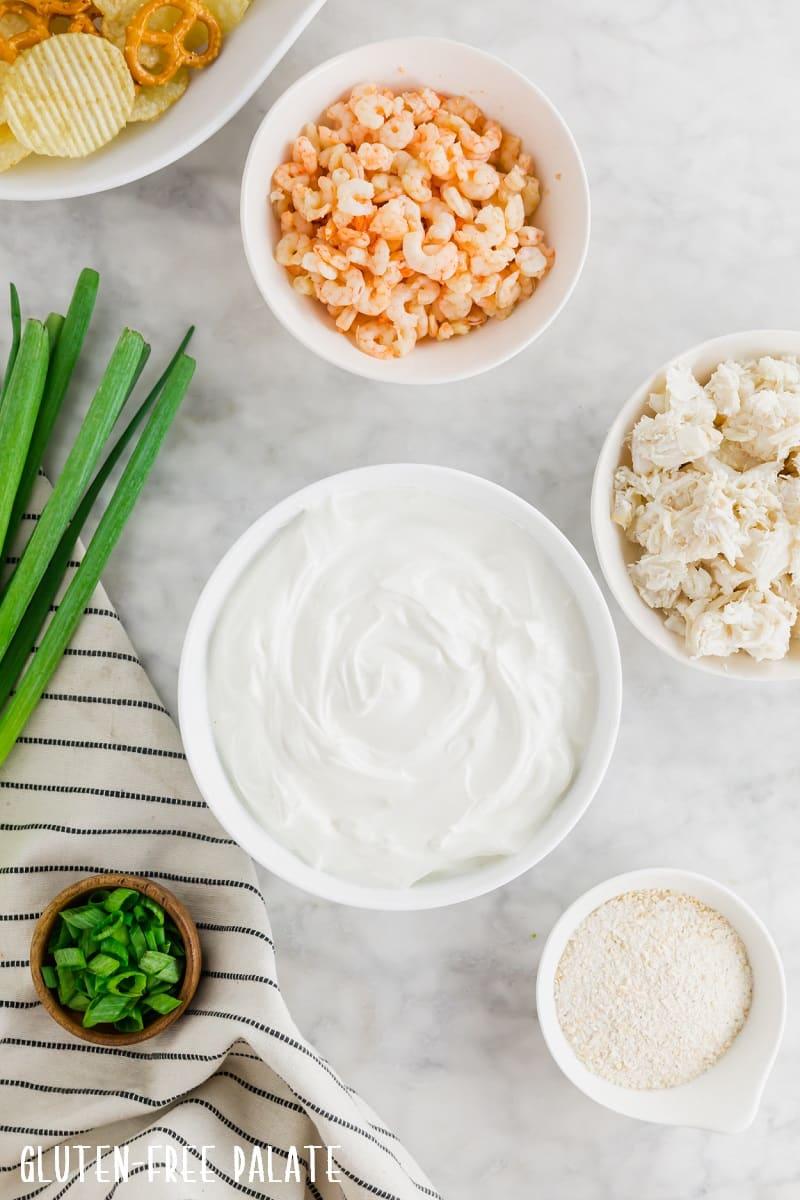 ingredients to make seafood dip
