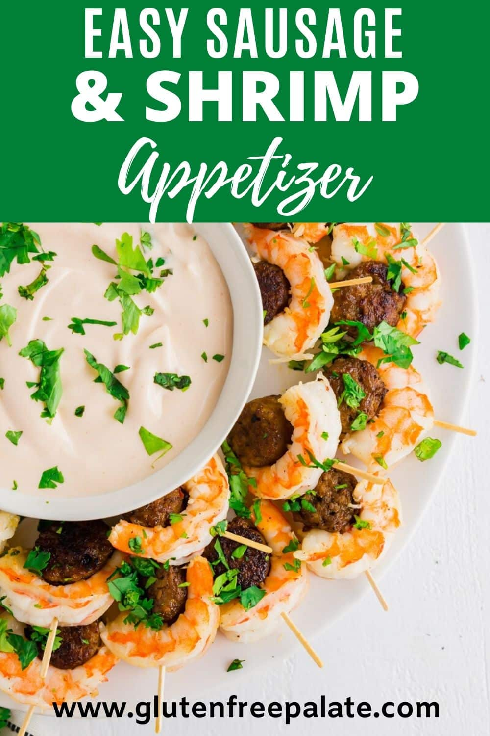 a pinterest pin for Shrimp Sausage Appetizers