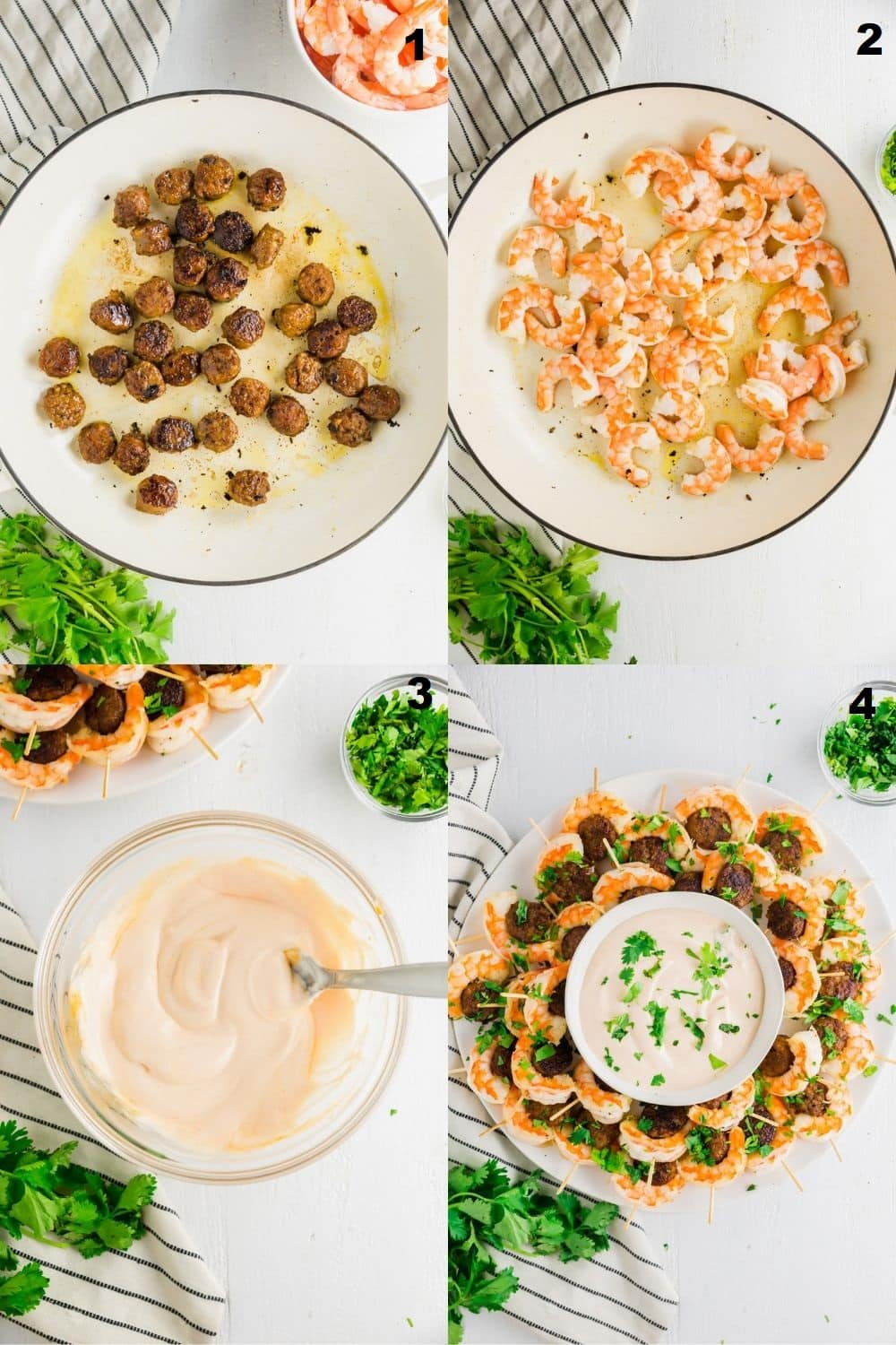 a collage of four photos showing how to make Shrimp Sausage Appetizers
