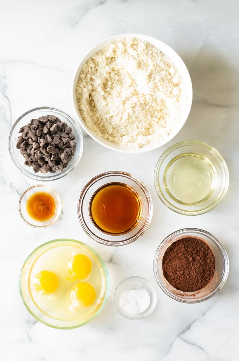 top down view of ingredients in paleo chocolate muffins