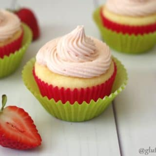 These lovely and delicious Gluten-Free Strawberry Lemonade Cupcakes are perfect for summer! They are tender and flavorful and only use a few simple ingredients.