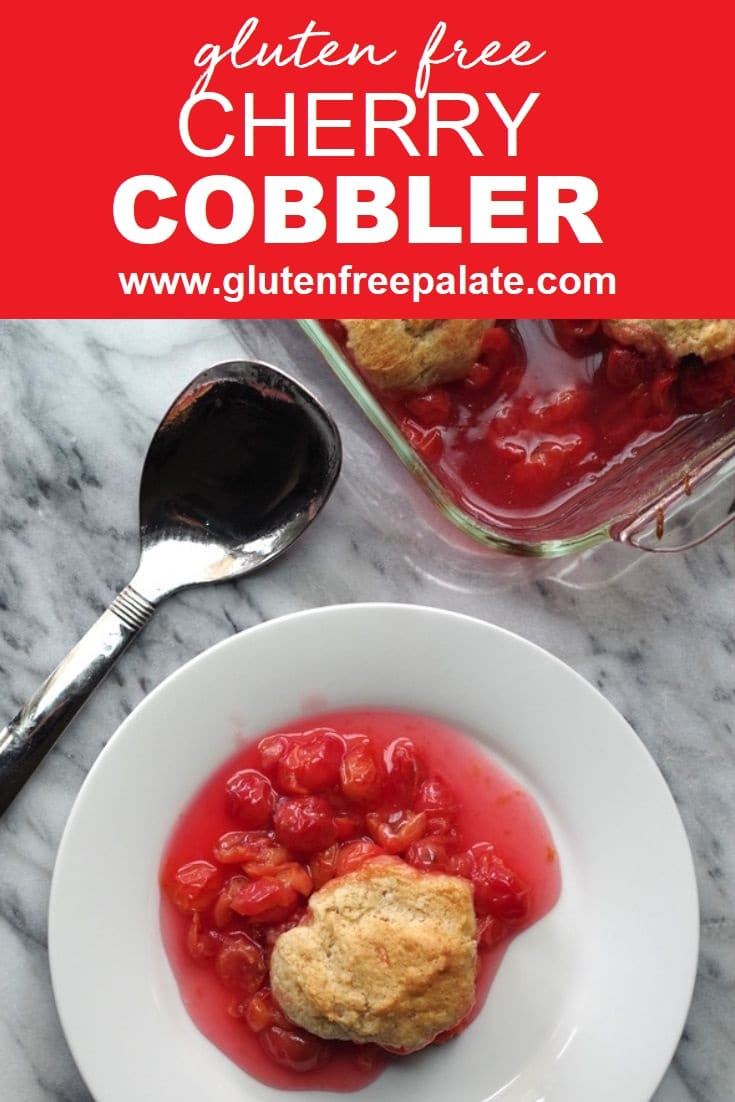 Gluten free cherry cobbler on a white plate.