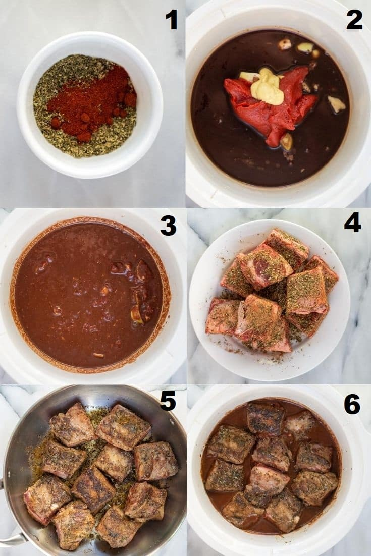 a collage of six photos showing the steps to make slow cooker short ribs