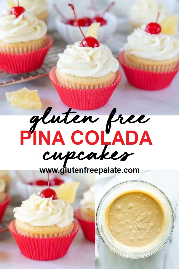 Gluten Free Pina Colada Cupcakes with a cherry on top pinterest pin
