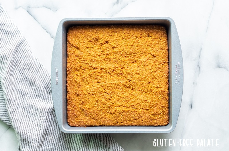 pumpkin cornbread in a metal square pan
