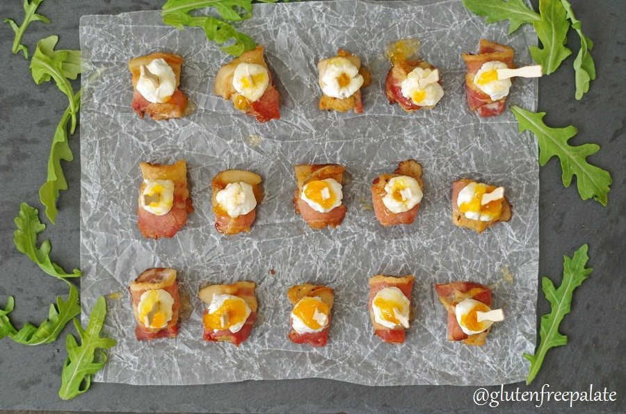 Sausage Appetizer with bacon and goat cheese.