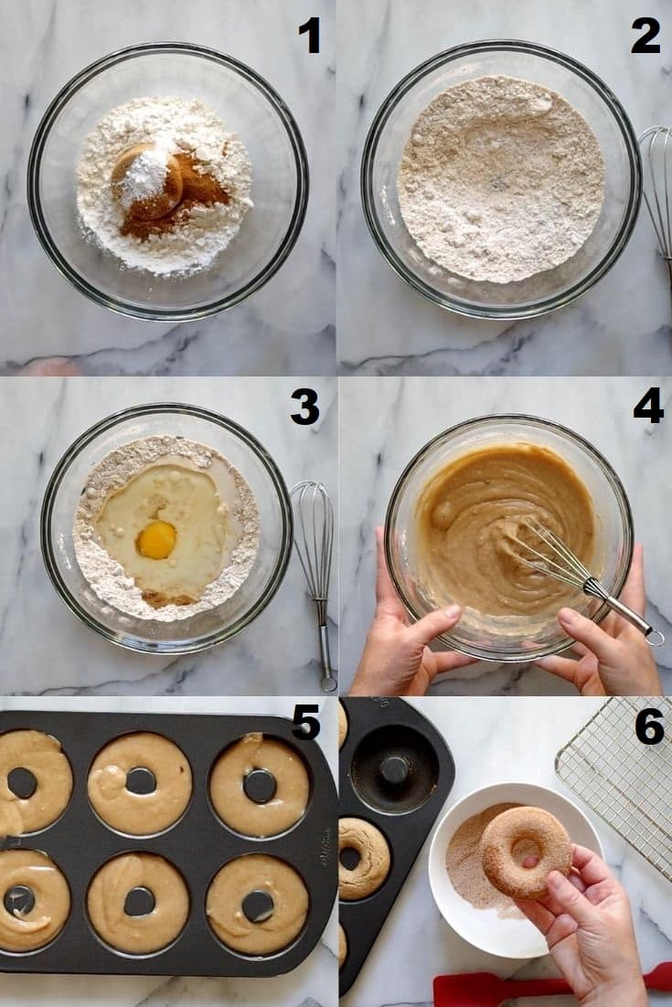 a collage of six photos showing the steps to make gluten free cinnamon sugar donuts
