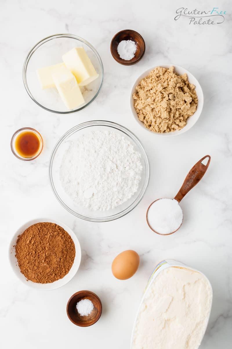 top down view of ingredients in gluten free ice cream sandwiches