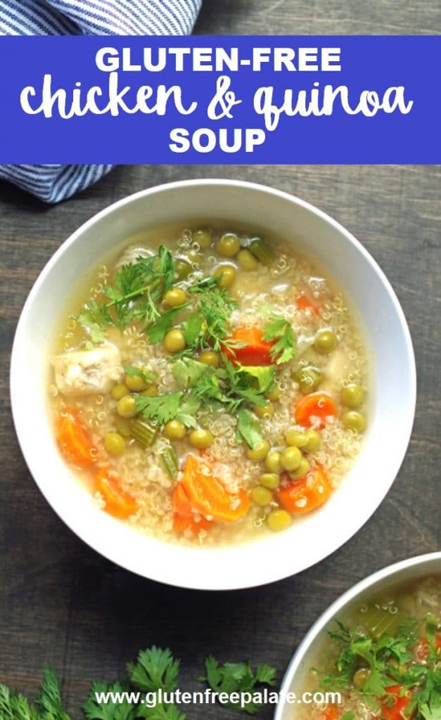 gluten-free chicken and quinoa soup in a white bowl with a blue striped napkin.