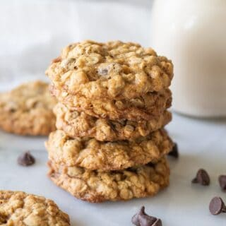 four gluten free oatmeal cookies stacked