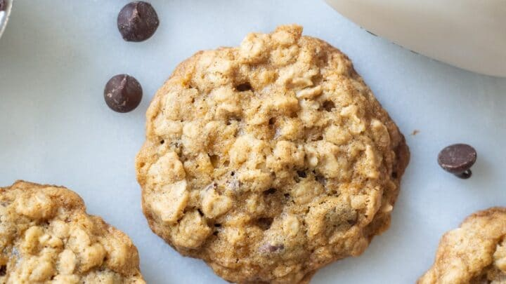 close up of a gluten free oatmeal cookie