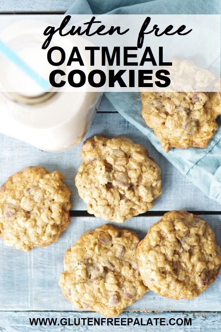 gluten free oatmeal cookies on a blue board with the words gluten free oatmeal cookies written over the top