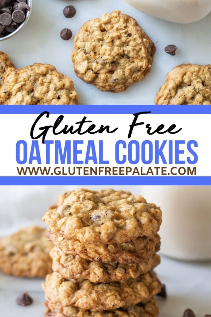 two images of oatmeal cookies with chocolate chips with the text gluten free oatmeal cookies in between the two images