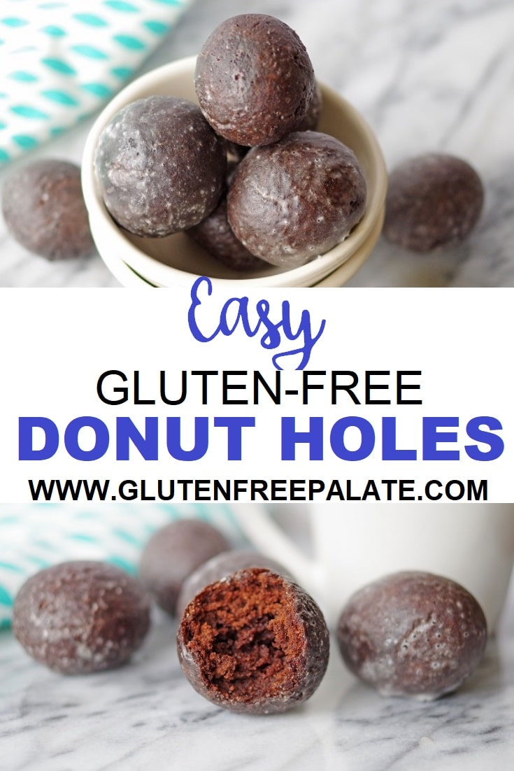 a pinterest image with two photos of chocolate donut holes with the words easy gluten-free donut holes in text in the center