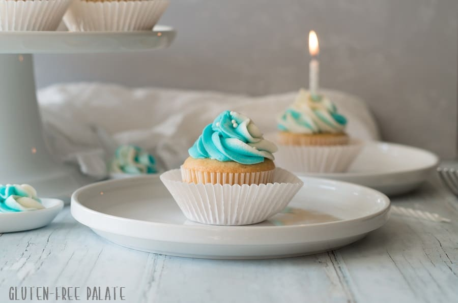 These Gluten-Free Vanilla Cupcakes are dairy-free, simple to make, and lend a bakery style texture and a vanilla bean finish. You can bake up a batch of these perfect cupcakes in no-time.