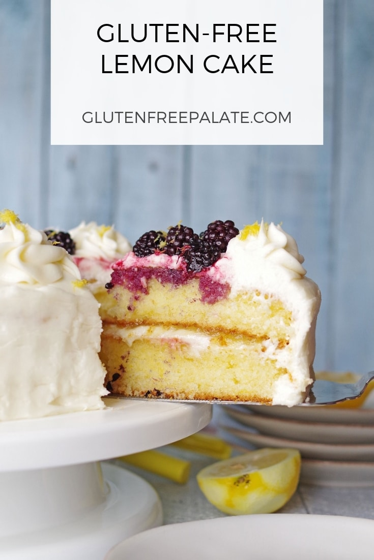 a pinterest pin with a slice of lemon cake next to a cake plate and the words gluten free lemon cake in text at the top