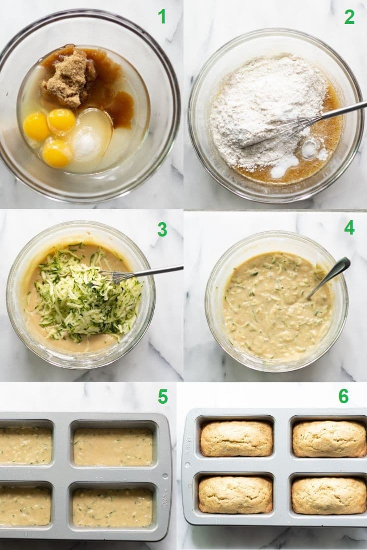collage of six numbered photos showing the steps on how to make gluten free zucchini bread