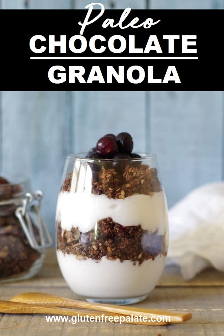 a pinterst pin with paleo granola in a glass jar with a wooden spoon with text at the top